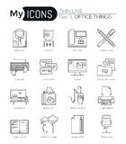 Modern thin line icons set of basic business essential tools, office equipment. Royalty Free Stock Image