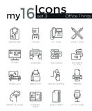Modern thin line icons set of basic business essential tools, office equipment. Stock Photos