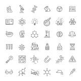 Modern thin line icons set of biochemistry research. Biology laboratory experiment Royalty Free Stock Photos