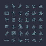 Modern thin line icons set of biochemistry research. Biology laboratory experiment Royalty Free Stock Photography