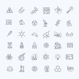 Modern thin line icons set of biochemistry research. Biology laboratory experiment royalty free illustration