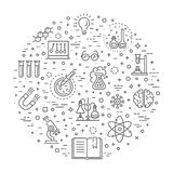 Modern thin line icons set of biochemistry research. Biology laboratory experiment Royalty Free Stock Image