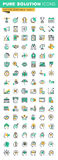 Modern thin line icons set of business management, finance, human brain process and opportunities Stock Images
