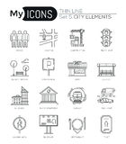 Modern thin line icons set of city elements Royalty Free Stock Image