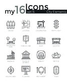 Modern thin line icons set of city elements Royalty Free Stock Photos