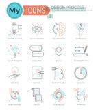 Modern thin line icons set of design process. Stock Photos