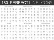 180 modern thin line icons set of digital marketing, human productivity, network technology, cyber security, SEO