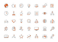 Modern thin line icons set of doing business elements, solution for clients. Royalty Free Stock Image