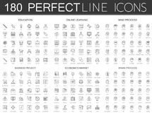 180 modern thin line icons set of education, online learning, mind process, business project, economics market, brain. Process isolated Vector Illustration