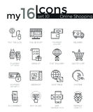Modern thin line icons set of internet shopping. Retail store and online sales. Premium quality outline symbol collection. Simple mono linear pictogram pack Royalty Free Stock Photo