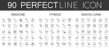 90 modern thin line icons set of medicine, fitness, dental care. Isolated Royalty Free Stock Photography