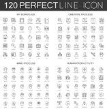 120 modern thin line icons set of my workplace, creative process, mind process, human productivity. Royalty Free Stock Photos