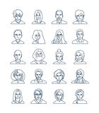 Modern thin line icons set of people avatars Stock Images
