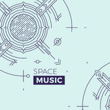 Modern thin line music cover illustration. Outline space banner. Simple mono linear abstract banner design. Stroke Stock Photo