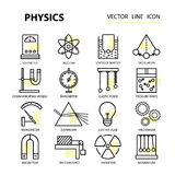Modern thin linear vector icons of physics and laboratory experiments. Stock Photo