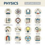 Modern thin linear vector icons of physics and laboratory experiments. Royalty Free Stock Image