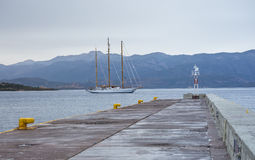 Modern Three-masted Sailing Ship In Monemvasia Bay Stock Image