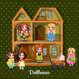 Modern three-storey dolls house with six dolls Royalty Free Stock Images