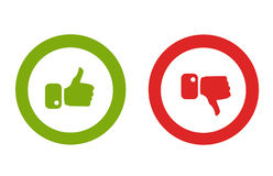 Modern Thumbs Up and Thumbs Down Icons Stock Photography