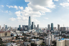 Modern tianjin cityscape. Aerial view of modern tianjin cityscape with blue sky, China Stock Photos