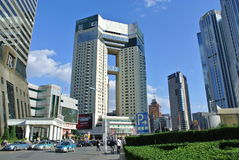 Modern Tianjin. High buildings are  popular in modern Tianjin. This one is in a shopping area called European Street Royalty Free Stock Photos
