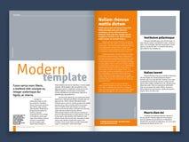 Modern tidskrift- eller tidningsvektororientering med textmodulkonstruktions- och bildställen Royaltyfria Bilder