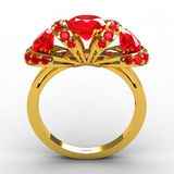 Modern Tiffany Style Gold Ruby Engagement Ring Stock Image