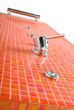 Modern Tile Shower. Low angle perspective  of a modern shower column Royalty Free Stock Image