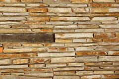 Modern Tiled Stonewall From Flagstone And Limestone Slabs, Backg Stock Photography