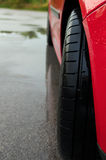 Modern tire. Modern car`s tire for wet Royalty Free Stock Photos