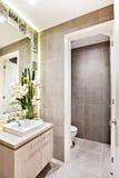 Modern toalett med utsmyckade garneringobjekt bredvid spegeln royaltyfri fotografi