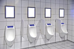 Modern toalettinre med pissoarrad royaltyfri bild