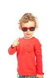 Modern toddler showing finger Royalty Free Stock Images