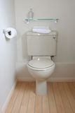 Modern Toilet Cistern. Modern toilet with close-coupled cistern and pine floor Stock Photography