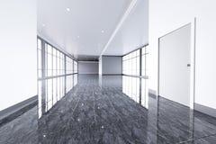 Modern tom kontorsinre med stora fönster Arkivbild