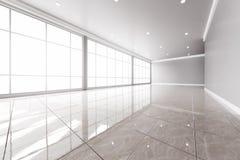 Modern tom kontorsinre med stora fönster Royaltyfri Fotografi