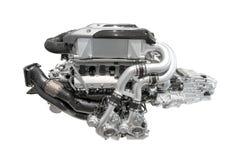 Modern toppen sportbilmotor - cylinder 16 - som isoleras på vit bakgrund, utan skugga Arkivbild