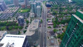 Modern Toronto downtown architecture of busy financial urban district, 4k aerial. Modern Toronto downtown architecture of busy financial urban district stock footage
