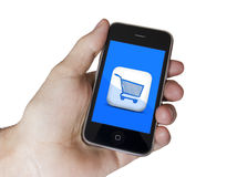 Modern touch blue screen phone E-Commerce. White screen on a Modern touch screen popular phone mobile royalty free stock image