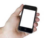 Modern touch screen phone. White screen on a Modern touch screen popular phone mobile stock photo