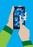 Modern Touchscreen Mobile Phone and Hand. Vector Illustration Royalty Free Stock Photos