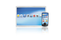 Modern touchscreen mobile phone and laptop tablet Stock Photography