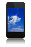 Modern touchscreen phone with sky on screen. Modern abstract touchscreen phone with sky on screen, isolated on white background royalty free illustration
