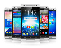 Modern touchscreen smartphones Stock Photography