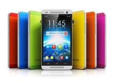 Modern touchscreen smartphones Royalty Free Stock Photos