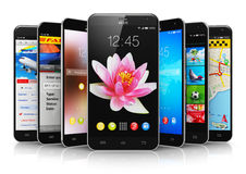 Modern touchscreen smartphones Royalty Free Stock Photography