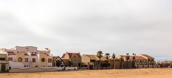 Modern touristic cottages of Dolfynstrand resort at the seaside, royalty free stock photos