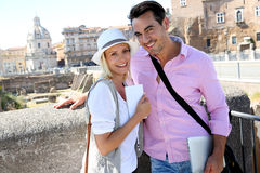 Modern tourists visiting Foro Traiano on sunny day Stock Photography