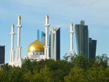 Modern towers and a mosque in Astana / Kazakhstan Stock Photography