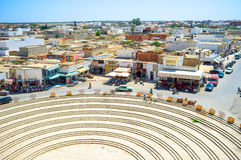 The modern town. EL JEM, TUNISIA - SEPTEMBER 1, 2015: The aerial view of arabic town from the top of the roman amphitheatre, on September 1, in El Jem Royalty Free Stock Image